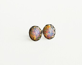 Fire Opal Stud Earrings Vintage Domed Glass Cabochon Posts Hypoallergenic Opal Bridesmaid Gifts Spring Wedding Pastel Jewelry