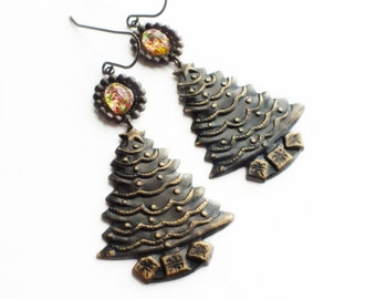 Christmas Tree Earrings Antiqued Brass Jewelry Vintage Glass Fire Opal Dangle Earrings Holiday Earrings Christmas Statement