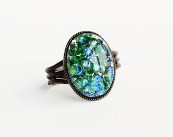 Green Glass Opal Ring Emerald Glass Ring Green Glass Ring Iridescent Green Ring Fire Opal Adjustable Antique Brass
