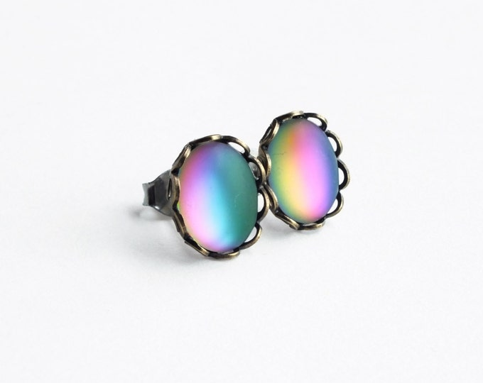 Matte Rainbow Glass Post Earrings Vintage Iridescent Glass Rainbow Earring Studs Colorful Frosted Rainbow Jewelry Hypoallergenic Studs
