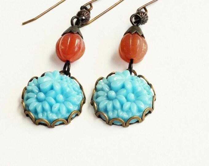 Blue Flower Dangle Earrings Vintage Carved Glass Earrings Blue Flower Earrings Light Blue Earrings Carved Flower Jewelry Daisy Earrings