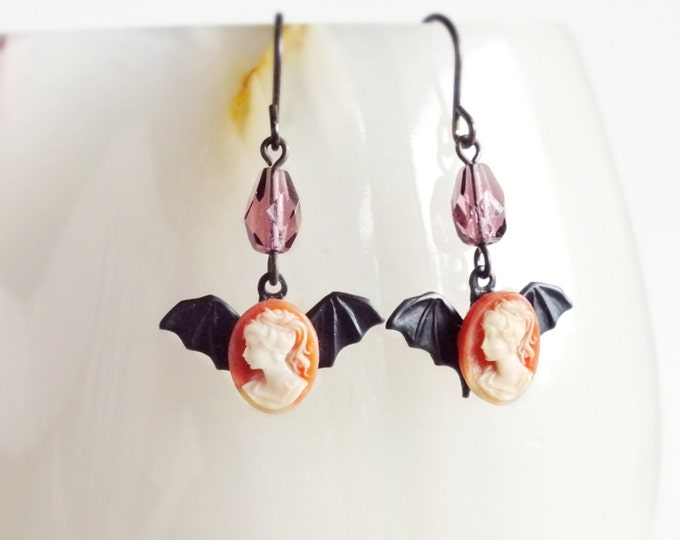Small Halloween Bat Earrings Tiny Vintage Cameo Earrings Black Bat Jewelry Halloween Victorian Creepy Goth Jewelry Cameo Dangle Earrings