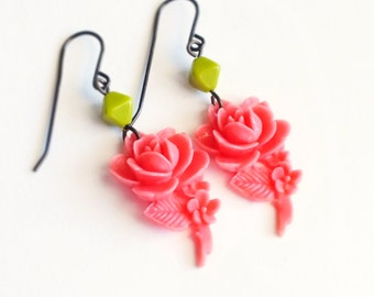 Pink Rose Earrings Large Vintage Carved Resin Rose Bright Pink Green Flower Dangles Retro Jewelry Romantic Gift For Her