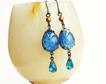 Blue Aquamarine Glass Opal Earrings Aqua Blue Glass Opal Jewelry Victorian Copper Blue Dangle Earrings Aquamarine Jewelry