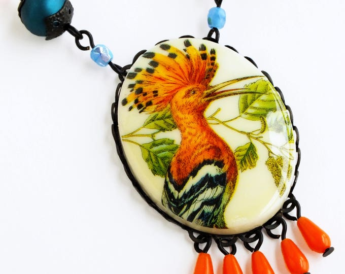 Bird Cameo Necklace Large Vintage Bird Pendant Necklace Orange Hoopoe Jewelry Colorful Statement Jewelry