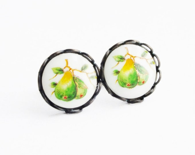 Fruit Cameo Post Earrings Pear Stud Earrings Fruit Jewelry Small Vintage Green Post Earrings Pear Cameo Earrings Hypoallergenic Studs