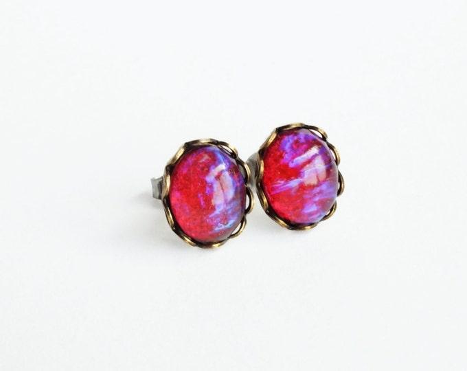 Glass Dragons Breath Earring Studs Vintage Red Glass Post Earrings Glass Mexican Opal Studs Hypoallergenic Dragons Breath Jewelry