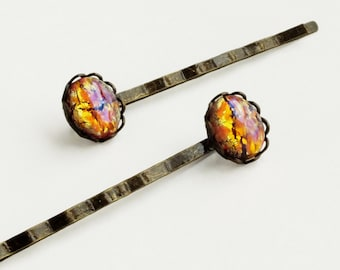 Glass Opal Hair Pins Pink Hair Pins Peach Glass Opal Bobby Pins Small Vintage Pink Yellow Glass Harlequin Fire Opal Hair Pins