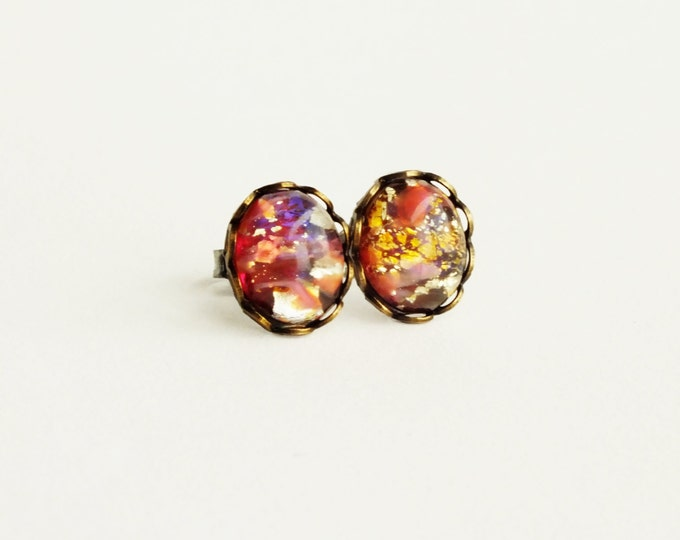 Pink Glass Opal Studs Vintage Pink Glass Studs Fire Opal Post Earrings Hypoallergenic Peach Stud Earrings