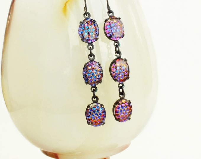 Iridescent Glass Earrings Purple Color Changing Earrings Vintage Honeycomb Jewelry Purple Glass Dangles Thousand Eye Jewelry