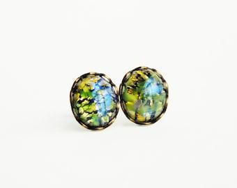 Olive Green Glass Opal Post Earrings Opal Studs Vintage Foiled Glass Fire Opal Earring Studs Hypoallergenic Studs Olivine Green Jewelry