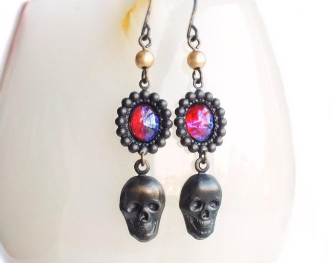 Black Skull Halloween Earrings Vintage Dragons Breath Opal Earrings Black Brass Gothic Creepy Skull Halloween Jewelry Dragons Breath