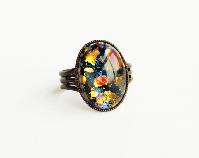 Black Opal Ring Vintage Harlequin Fire Opal Iridescent Glass Rainbow Opal Adjustable Ring