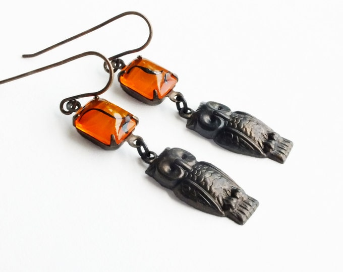 Owl Dangle Earrings Antique Brass Earrings Vintage Orange Glass Rhinestones Owl Jewelry