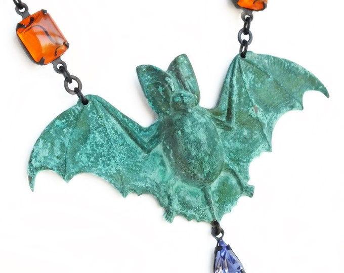 Large Verdigris Bat Necklace Halloween Victorian Gothic Jewelry Green Patina Necklace Rhinestone Statement Bat Jewelry Halloween