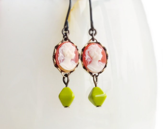 Tiny Cameo Earrings Vintage Coral Cameos Small Cameo Dangles Coral Green Victorian Jewelry Pink Green Earrings