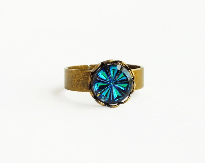 Blue Crystal Ring Small Vintage Iridescent Glass Blue Green Vitrail Crystal Ring Bermuda Blue Adjustable Brass Ring