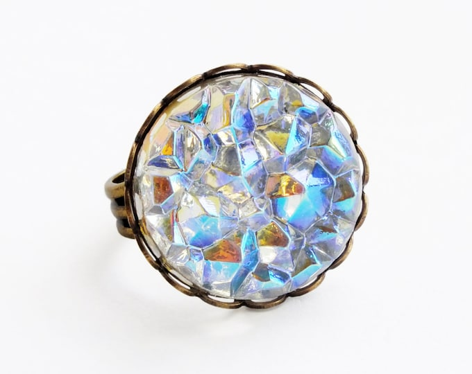 Iridescent Crystal Ring Large Vintage AB Glass Druzy Drusy Ice Ring Iceberg Cabochon Ring Aurora Borealis Statement Jewelry
