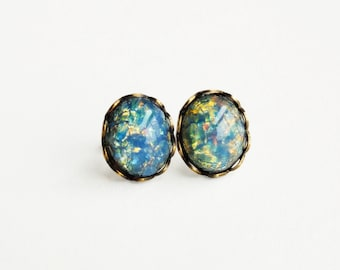 Blue Opal Stud Earrings Vintage Glass Harlequin Fire Opal Post Earrings Light Blue Opal Earrings Hypoallergenic Studs