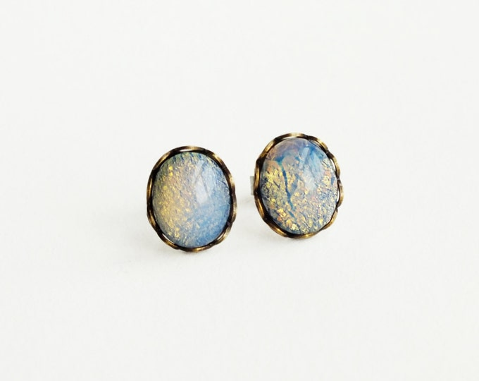 Blue Glass Opal Stud Earrings Rare Vintage Glass Harlequin Fire Opal Post Earrings Hypoallergenic Studs