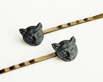 Cute Cat Hair Pins Black Cat Halloween Bobby Pins Animal Vintage Style Cat Hair Accessories Halloween Animal Gift For Cat Lovers