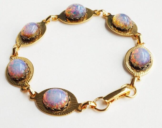 Fire Opal Bracelet Gold Chain Bracelet Large Chunky Bracelet Vintage Pink Glass Bracelet Iridescent Opal Bracelet