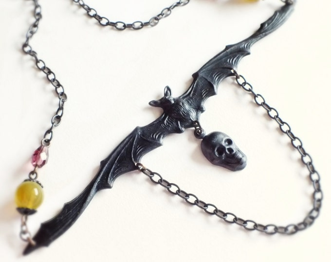 Black Bat Skull Necklace Oxidized Brass Victorian Statement Jewelry Creepy Gothic Goth Jewelry