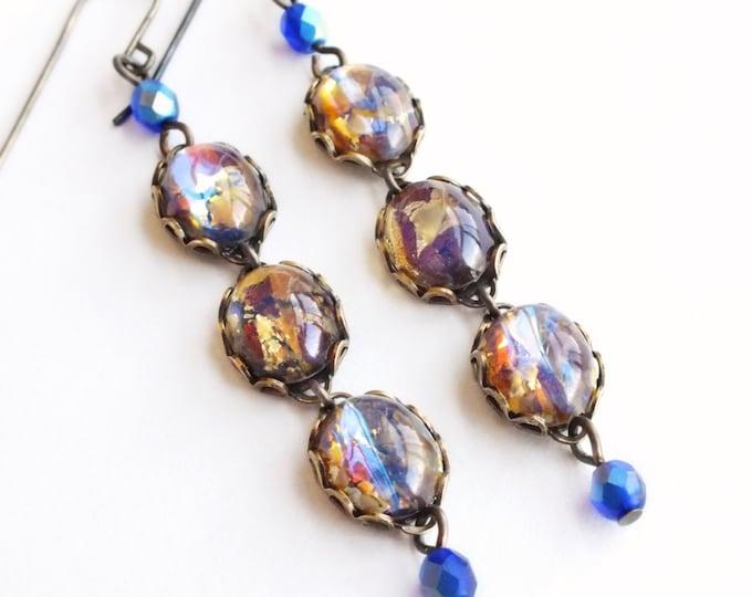 Topaz Opal Earrings Vintage Iridescent Amber Earrings Opal Jewelry Dangle Earrings