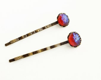 Glass Dragons Breath Hair Pins Vintage Glass Mexican Opal Bobby Pins Iridescent Red Glitter Accessories