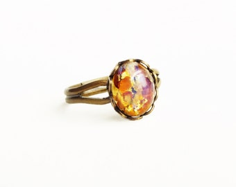 Topaz Opal Ring Small Topaz Glass Ring Vintage Opal Jewelry Iridescent Glass Ring Adjustable Brass Stacking Ring
