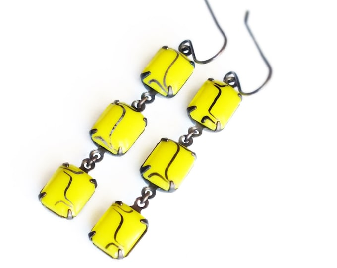 Yellow Glass Dangle Earrings Bright Yellow Earrings Yellow Jewelry Long Yellow Earrings Vintage Art Deco Smooth Rhinestone Jewelry