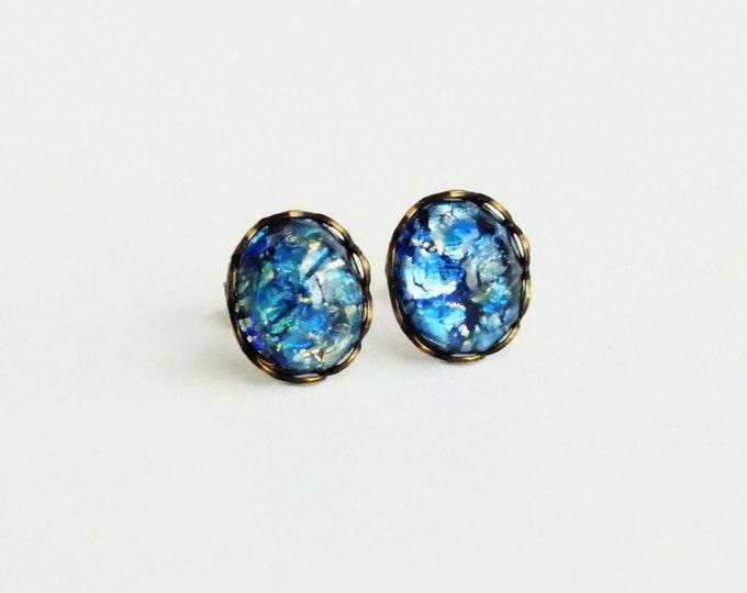 Blue Opal Post Earrings Vintage Royal Sapphire Blue Fire Opal Studs Hypoallergenic