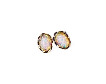 Glass Opal Studs Tiny Studs Vintage Glass Harlequin Fire Opal Post Earrings Hypoallergenic Bridesmaid Gifts For Women