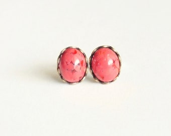 Coral Stud Earrings Small Vintage Glass Studs Coral Cabochon Post Earrings Hypoallergenic Studs Eco Friendly Glass Coral Jewelry