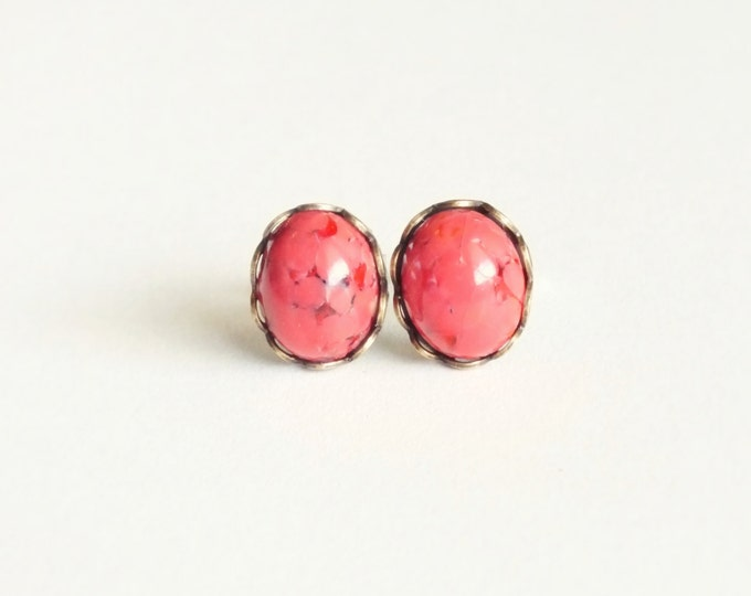 Glass Coral Stud Earrings Small Vintage Glass Studs Coral Cabochon Post Earrings Hypoallergenic Studs Eco Friendly Glass Coral Jewelry