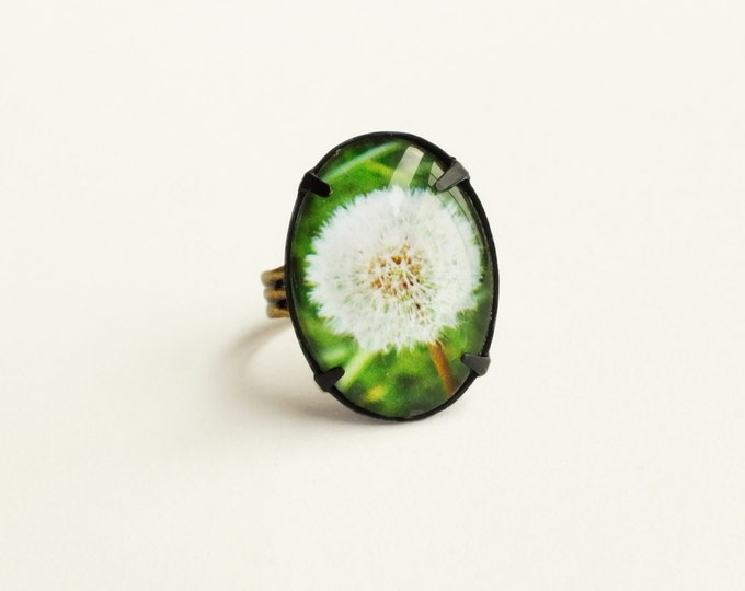 Dandelion Ring White Flower Glass Photo Ring Adjustable White Green Floral Ring Dandelion Nature Jewelry