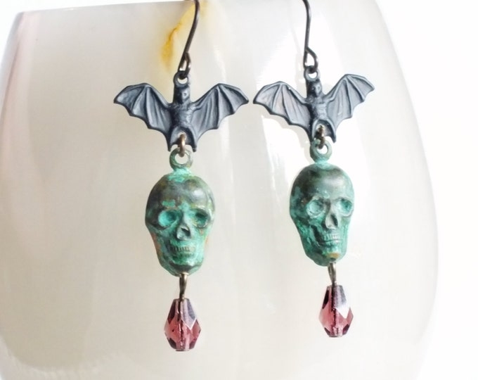 Halloween Skull Bat Earrings Bat Jewelry Verdigris Dangles Green Purple Victorian Halloween Jewelry