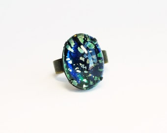 Glass Opal Ring Emerald Ring Glass Harlequin Fire Opal Jewelry Green Glass Ring Green Opal Iridescent Green Jewelry Adjustable Ring