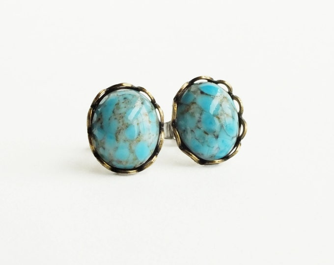 Turquoise Post Earrings Turquoise Studs Vintage Glass Turquoise Cabochon Studs Hypoallergenic Studs