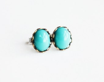 Small Glass Turquoise Studs Vintage Glass Aqua Post Earrings Robins Egg Blue Hypoallergenic Studs Turquoise Earrings Light Blue Glass