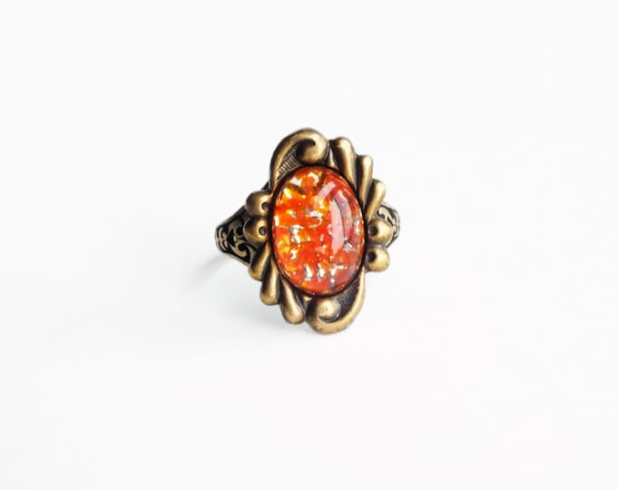 Orange Glass Ring Antique Brass Vintage Foiled Opal Ring Adjustable Ring Lampwork Art Glass Ring