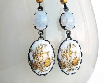 Glass Opal Libra Dangle Earrings Victorian Astrology Earrings Zodiac Libra Vintage Zodiac Jewelry Libra Astrology Jewelry