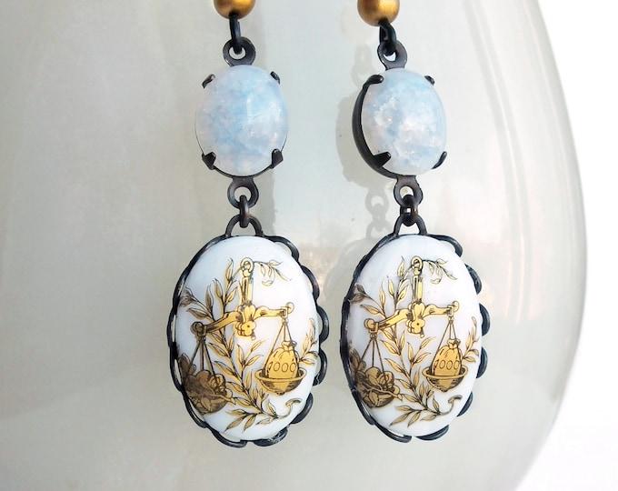 Glass Opal Libra Dangle Earrings Victorian Astrology Earrings Zodiac Libra Vintage Zodiac Jewelry Libra Astrology Jewelry