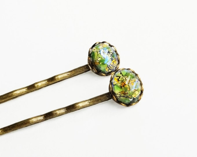 Green Opal Hair Pins Vintage Iridescent Glass Bobby Pins Olive Green Hair Pins
