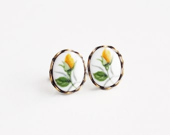 Yellow Rose Cameo Earrings Vintage Yellow Flower Studs Hypoallergenic Rose Jewelry Victorian Cameo Romantic Vintage Style Gift For Her