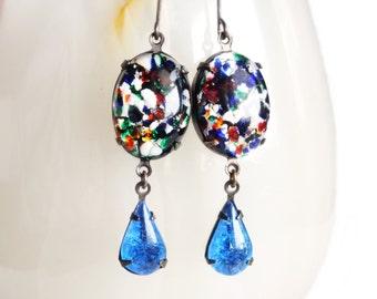 Art Glass Earrings Large Dangles Vintage Blue Black Lampwork Earrings Multi Color Lampwork Jewelry Colorful Dangles