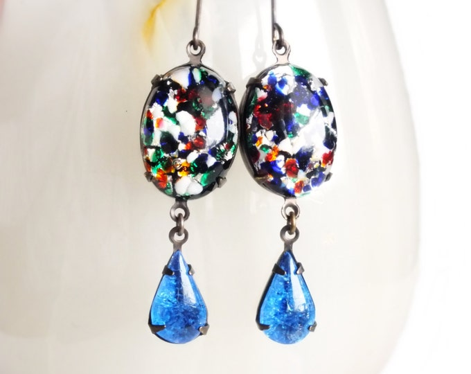 Art Glass Earrings Large Dangles Vintage Blue Black Lampwork Earrings Multi Color Lampwork Jewelry Colorful Dangles