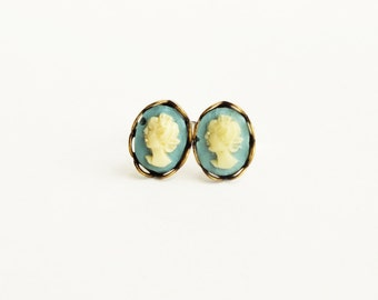 Victorian Cameo Studs Tiny Vintage Cameo Post Earrings Ivory Blue Cameo Earrings Victorian Cameo Jewelry