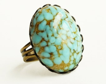 Turquoise Glass Ring Large Vintage Glass Cabochon Adjustable Turquoise Ring Turquoise Matrix Faux Gemstone Ring