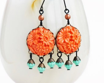 Orange Chandelier Earrings Carved Floral Dangles Large Bright Orange Aqua Glass Earrings Statement Jewelry